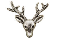 Filigree in the form of a deer's head, decorative element for manual work, isolated on white, with clipping path