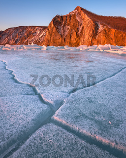 Baikal Ice and Bay Uzur in the Morning, Olkhon Island, Lake Baikal, Russia