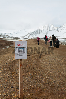 Stop sign in Ny Alesund, Svalbard islands