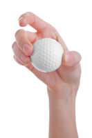 female hand holding golf ball isolated on white