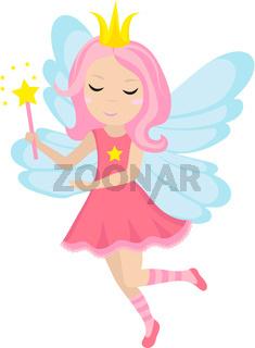 Cute little fairy icon, cartoon style. Isolated on white background. Vector illustration.