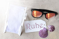 Sunny Flat Lay Summer Label Ruhe Means Peace