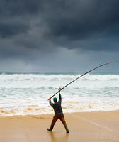 Fishing during the storm