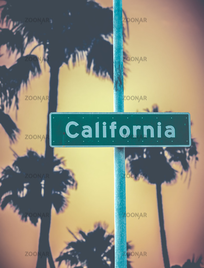 Retro California Sign And Palms