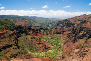 Helicopter over Waimea Canyon on Kauai