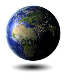 EMEA region on hovering globe