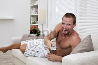 young man with a remote control