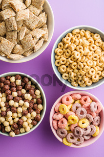 Different breakfast cereals.
