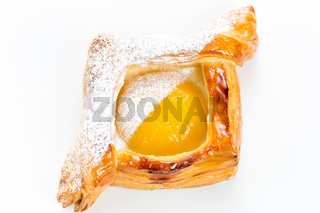 Open pies of puff pastry with peach, thyme and honey. Breakfast. Selective focus