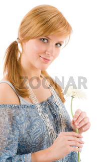 Romantic young woman hold gerbera daisy