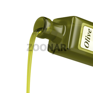 Pouring olive oil from the bottle