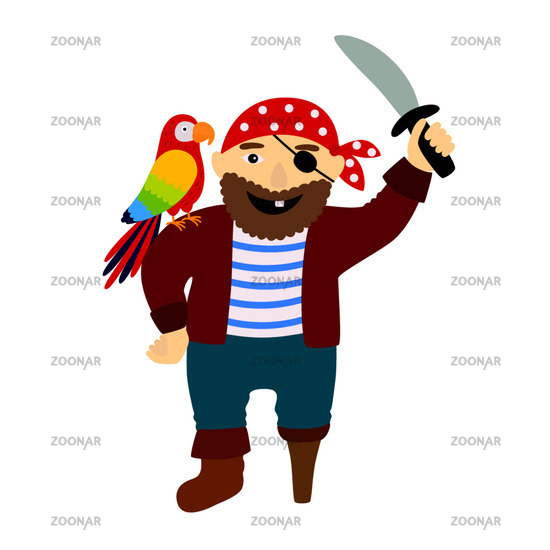 Cartoon pirate pirate with a parrot on his shoulder