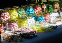 Colourful candy jars