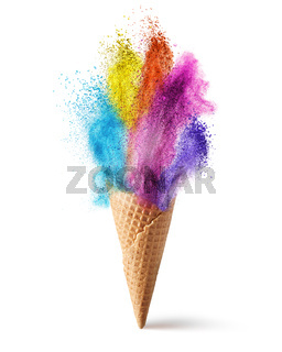 wafer cone with colored powder explosion