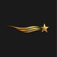 Gold Star Waves. Vector Illustration
