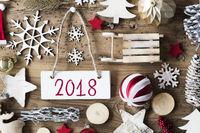 Rustic Christmas Flat Lay, Text 2018