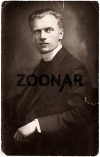 Fotoabzug, Männerportait, historische Aufnahme 1930 / print, art portrait of a man, historic photograph, around 1930