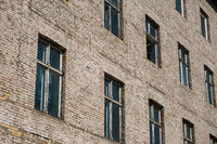 brick stone facade of old residential building
