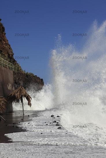 heavy Atlantic breakers at Madeira, Portugal
