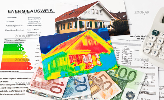 Save energy. House with thermal image camera