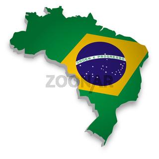 Brasilien Karte 3D Flagge