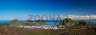 Panorama of Heimaey town, Vestmannaeyjar archipelago Iceland
