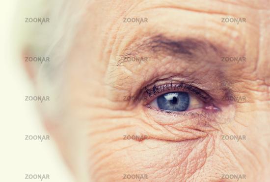 close up of senior woman face and eye