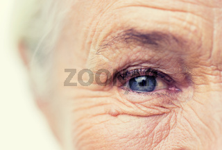 close up of senior woman face and eye