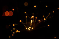 Abstract bright orange lights using a defocused bokeh effect with a black background. The sparkling colored lighting is created from the blur of intense Christmas decorations.