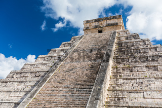 Mayan El Castillo Pyramid at the Archaeological Site in Chichen Itza, Mexico