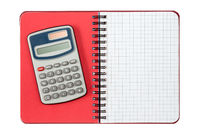 Calculator and notebook ,isolated on white