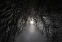 Stone tunnel under a mountain