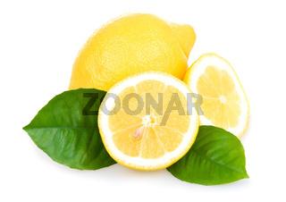 Ripe Yellow Lemons Isolated over White