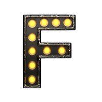 f metal letter with lights. 3D illustration