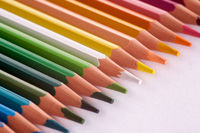 close-up of coloured pencils on a white background