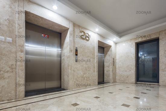 interior of modern elevator hall