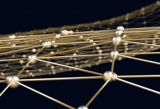 Abstract background of links and connections nodes 3d illustration