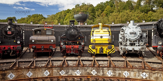 differnt kinds of steam locomotives, Bochum Dahlhausen Railway Museum, Ruhr Area, Germany, Europe