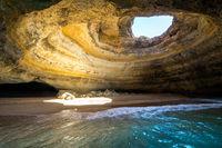 Inside view of the Benagil Sea Cave on Praia de Benagil, Benagil Beach Algarve Portugal.