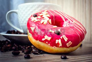 Chocolate donut with coffee