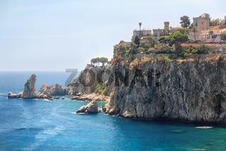 Island 'Isola Bella' rocky coast in Taormina
