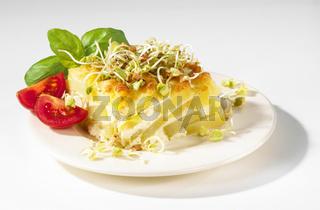 Kartoffelgratin mit Buchweizensprossen