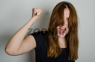 Mad woman with a knife