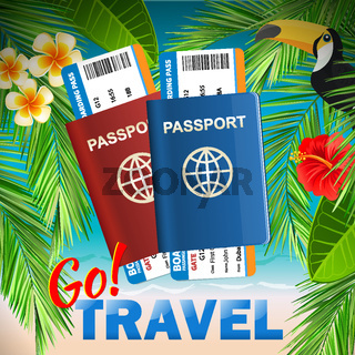 Passport with airline tickets on tropical sea background - International tourism travelling concept. Go travel