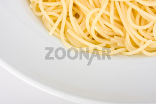 spaghetti in a white plate on clear background