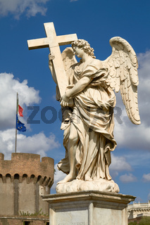 Statue of Angel at Sant Angelo Bridge in Rome Italy with Italian National Flag in the Background