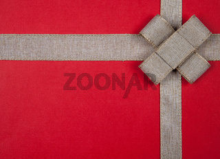 Ribbon on a red background Christmas gift