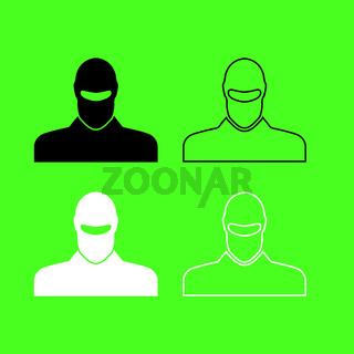 Man in balaclava or pasamontanas icon  Black and white color set  Man in balaclava or pasamontanas icon  Black and white color set