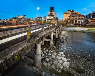 Sanjo Ohashi Bridge and Kamo River at Dawn, Kyoto, Japan