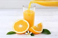 Orangensaft einschenken eingießen eingiessen Orangen Saft Flasche Orange Fruchtsaft